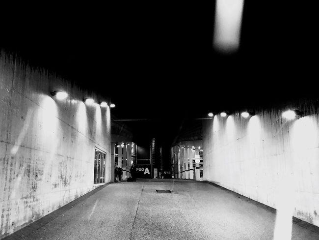 Stuttgart Messe BOSCH Parkaus Black And White Photography Airport Blackandwhite Beton Parking Area Bosch Monochrome Stuttgart Parkhaus Illuminated Lighting Equipment The Way Forward Electric Light Night Indoors  Built Structure No People Architecture
