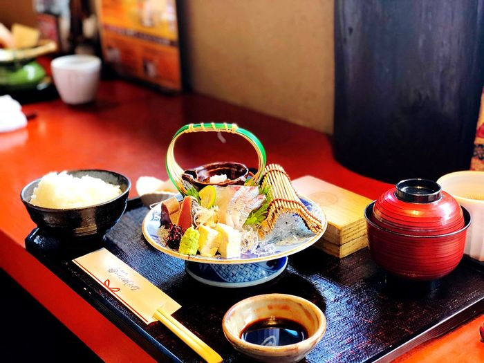 Close-up of food served on table at restaurant