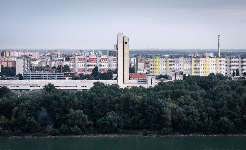 Bratislava, Slovakia. Slovakia Bratislava Urban Building Exterior Architecture Built Structure City Cityscape No People Waterfront Day Outdoors River Residential District Skyscraper Concrete Buildings Social Housing Projects