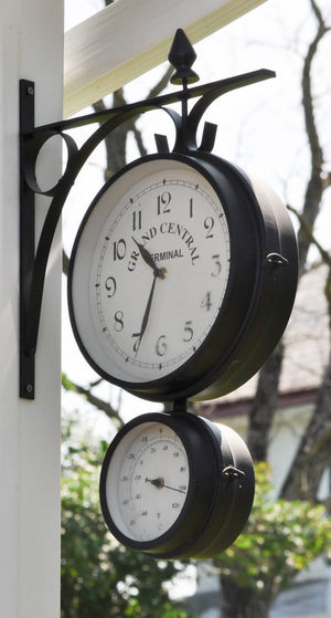 Double Decker Clock Clock Clock Face Day Gauge Hanging Minute Hand No People Number Outdoors Technology Time