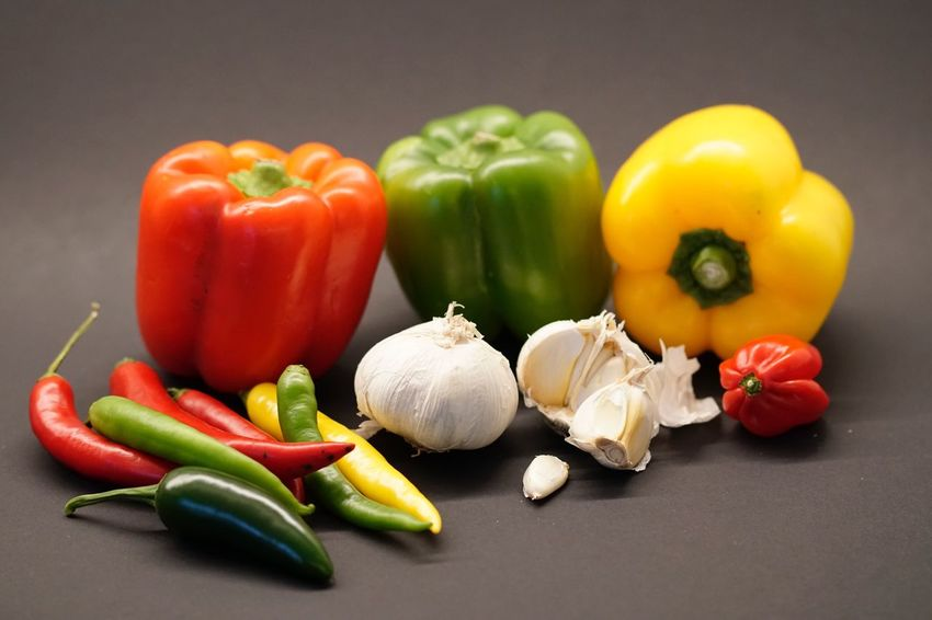 Still Life Bell Pepper Vegetable Healthy Eating Red Bell Pepper Yellow Bell Pepper Food Food And Drink Green Bell Pepper Freshness No People Studio Shot Green Color Close-up Indoors  Day