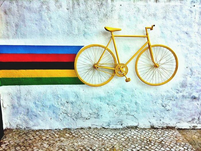 Paddling over the Rainbow EyeEm Best Shots Urban Art Bicycle Rainbow_wall EyeEm Bestsellers