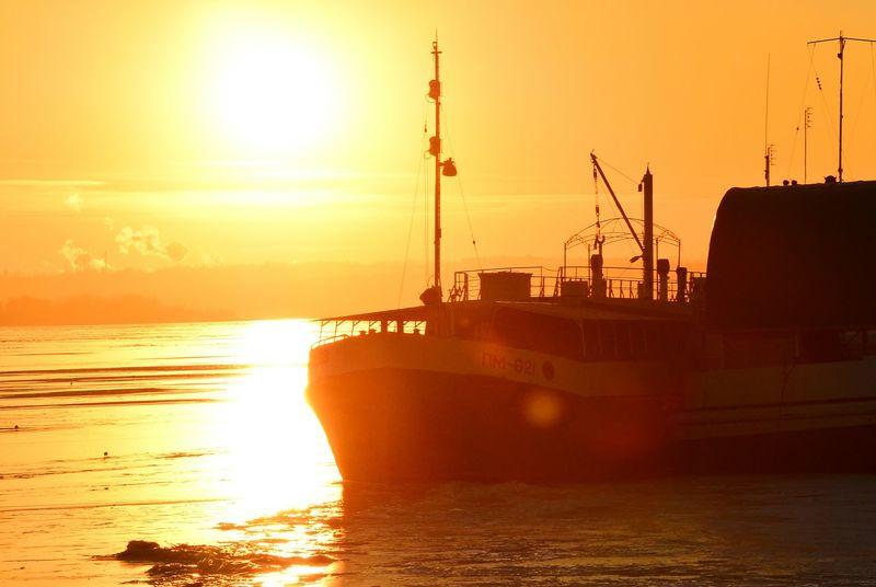 Sunset River Sky Sun Reflection Ship
