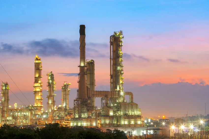 Oil refinery industry Building Exterior Built Structure Complexity Distillation Drilling Rig Factory Fuel And Power Generation Gas Illuminated Industry Night No People Oil Industry Oil Refinery Outdoors Petrochemical Plant Power Station Refinery Sky Smoke Stack Sunset Technology