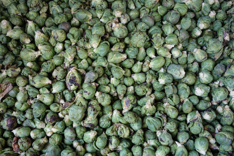 High Angle View Of Brussels Sprout For Sale At Market Stall