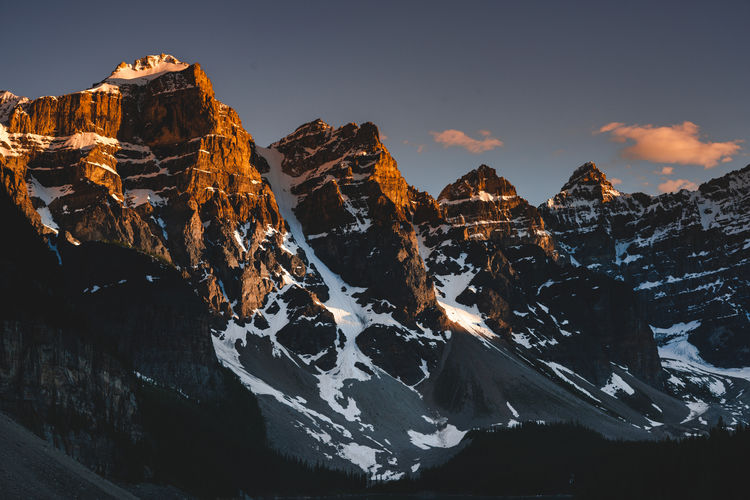 Beauty In Nature Cold Temperature Environment Eroded Formation Idyllic Mountain Mountain Peak Mountain Range Nature No People Non-urban Scene Outdoors Rock Rock - Object Rock Formation Scenics - Nature Sky Snow Snowcapped Mountain Solid Sunset Tranquil Scene Tranquility Winter