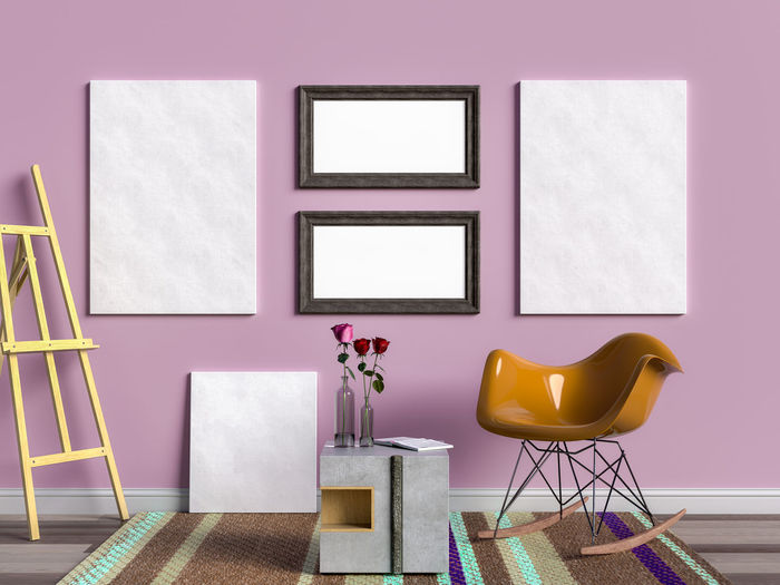 Mock up poster and frame in living room. Living Room Indoors  Empty Seat No People Domestic Room Chair Furniture Wall - Building Feature Home Interior Architecture Design Flooring Absence Frame Table Picture Frame Building Built Structure Elégance Home Modern Purple Luxury