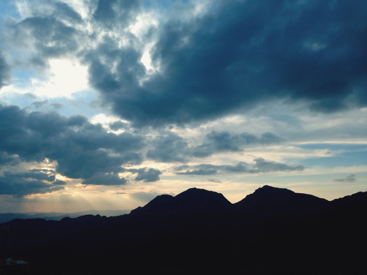 silhouette, sky, beauty in nature, tranquil scene, nature, scenics, tranquility, mountain, cloud - sky, no people, sunset, outdoors, landscape, day