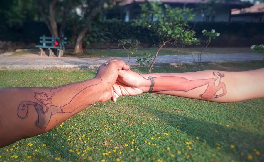 relationship goals EyeEmNewHere Cute Mobilephotography Mobile Photography Pens Drawn Love Bae  Tattoo Hand Art Olive Oyl Popeye Relationship Goals Relationshipgoals J7primephotography Human Hand Summer Grass Close-up