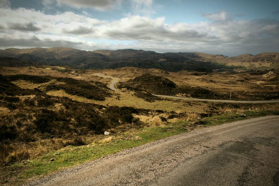 North Coast 500 Scotland Highlands Winding Road Road Trip Heather Sky Road To Nowhere Road Landscape Clouds Outdoors The Great Outdoors - 2017 EyeEm Awards Tranquility Mountain Scenics Tranquil Scene Beauty In Nature Day Nature Cloud - Sky