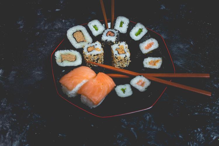 sushi Sushi Chopsticks Sashimi  Seafood Variation Rice - Food Staple Directly Above Japanese Food Raw Food Ginger Salmon - Seafood Fillet Salmon Pastry Served Starter Serving Size Tuna Dish
