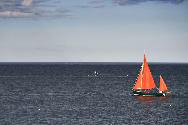 Beauty In Nature Day Horizon Horizon Over Water Idyllic Mode Of Transportation Nature Nautical Vessel No People Outdoors Sailboat Sailing Scenics - Nature Sea Sky Tranquil Scene Tranquility Transportation Water Waterfront