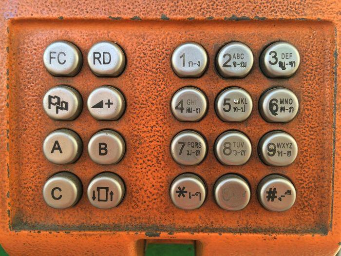 Full frame shot of numbers on telephone box