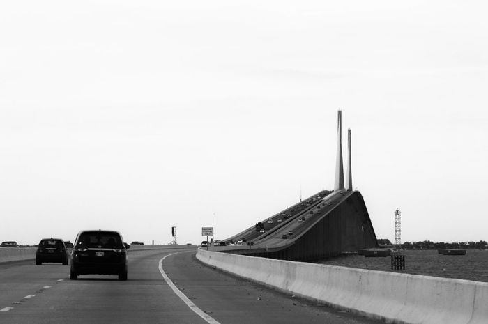 Bridge Motorway Cars Road Signal Blackandwhite Architecture Minimalist Architecture Welcome To Black Black & White Friday The Graphic City Mobility In Mega Cities