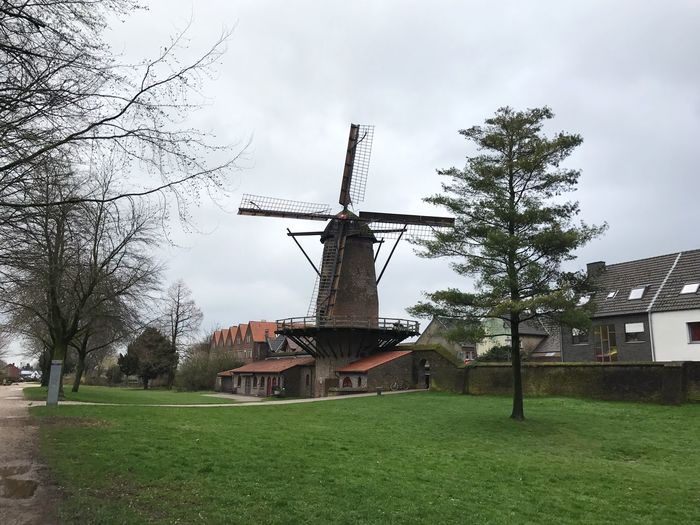 Windmill Wind Power Traditional Windmill Travel Sky Architecture Old Buildings Technology Middle Ages Grey Sky Bad Weather
