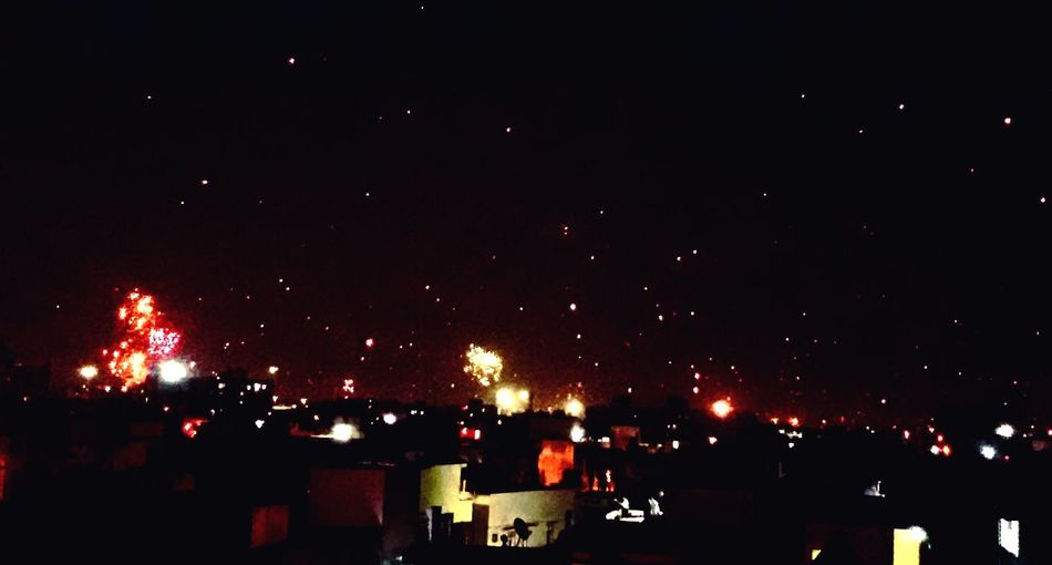 A sky full of lights! And i wish i could stop the time on this moment! Amdavad Uttrayan MakarSankranti Ahmedabad Home Viewfromthetop Nightphotography EyeEm Best Shots