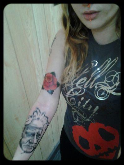 Tattoo Portrait Traditional Rose Sleeve