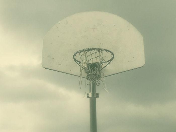 Sky No People Low Angle View Nature Outdoors Cloud - Sky Day Basketball Hoop Damaged Close-up Basketball - Sport Architecture Sport Environment Old Copy Space