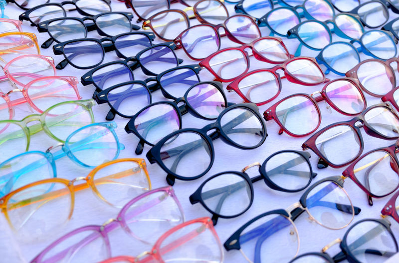 Backgrounds Close-up Day Eyeglasses  Eyesight Glasses Healthcare And Medicine Laboratory Large Group Of Objects Multi Colored No People Ophthalmologist Outdoors Repetition Research Retail  Science Spectacles White Background Wholesale
