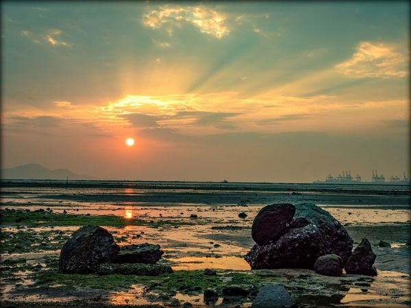 Water Sea Sunset Beach Sunlight Summer Rock - Object Sun Sky Horizon Over Water