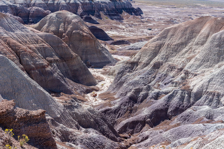 High angle landscape of the badlands at blue mesa in petrified forest national park in arizona