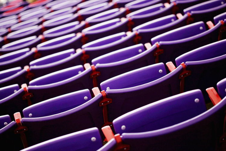 Tilt image of empty seat in theater