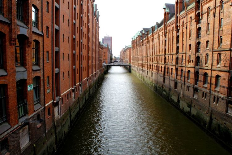 River Hamburg Germany Speicherstadt City Water Cityscape Canal Sky Architecture Building Exterior Built Structure Narrow Alley Old Town Footbridge Diminishing Perspective Lane The Way Forward Walkway vanishing point