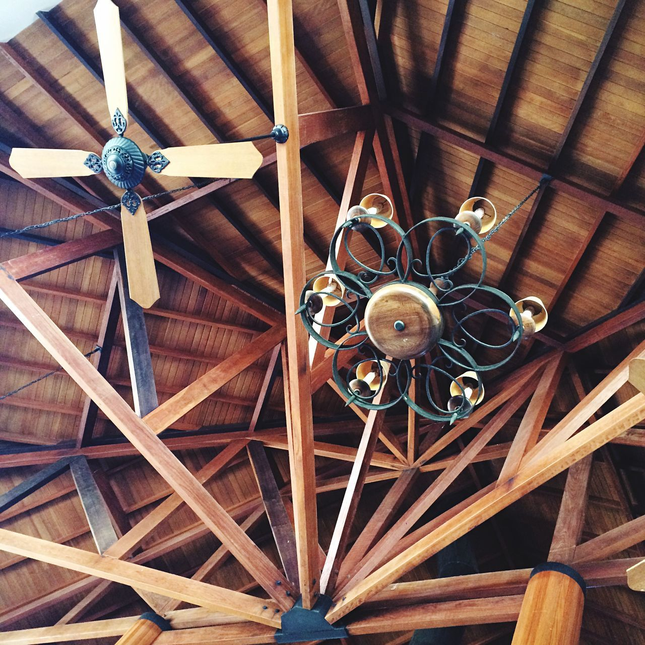 ceiling fan, electric fan, ceiling, fan, low angle view, indoors, electricity, technology, hanging, no people, architecture, day