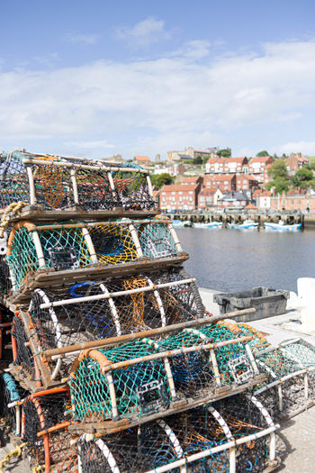 Harbor Sea Stack No People Fishing Fishing Industry Nature Water Village Life Lobster Pots Selective Focus depth of field Whitby Harbour Yorkshire Coast Harbour View british culture Seaside Town Seaside