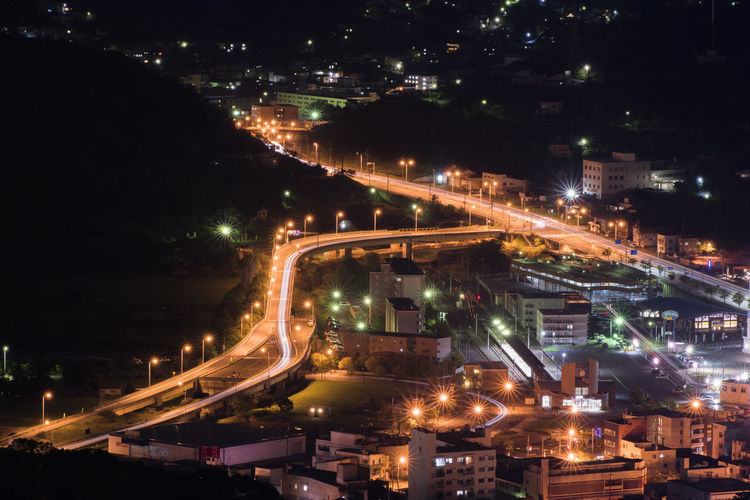 High Angle View Of Illuminated City