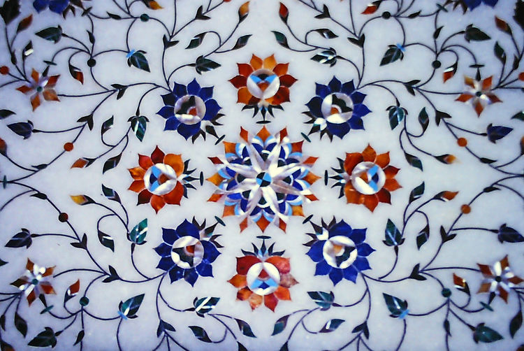 Marble table top inlaid with semi-precious gems Backgrounds Beauty In Nature Blue Close-up Day Floral Design Flower Flower Head Freshness Full Frame Indoors  Inlaid Table Top Multi Colored Nature No People Semi-precious Gems