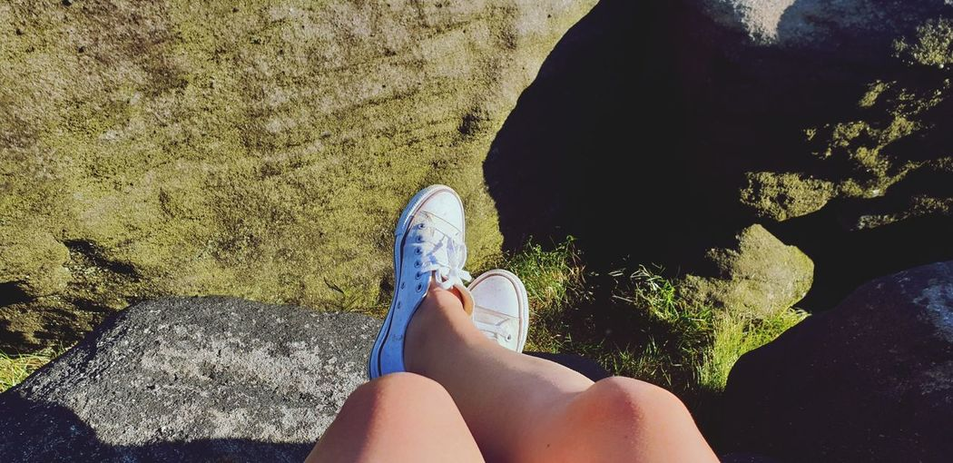 sat on the edge if the world Rock Walking Summertime Summer Views Rock Formation Todmorden EyeEm Nature Lover Eye4photography  Water Shadow barefoot Leg