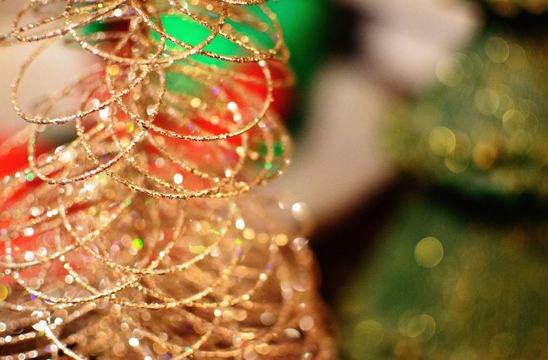 Close-up of shiny christmas ornaments