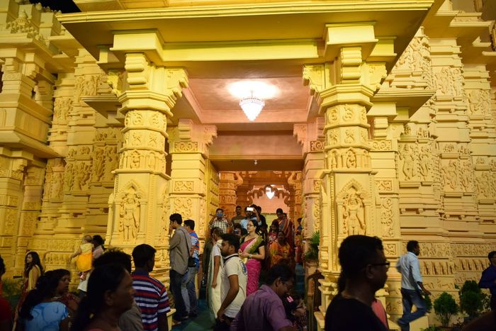 At the Somnath Temple of Gujrat built during Durga Puja 2016 at Berhampore India Architecture Built Structure Building Exterior Illuminated History Famous Place Place Of Worship City Life Looking Tourism Architectural Feature Night Out Night Photography Night City Life Gather & Celebrate People Photography People People And Places Place Of Worship Overnight Success Lifestyles