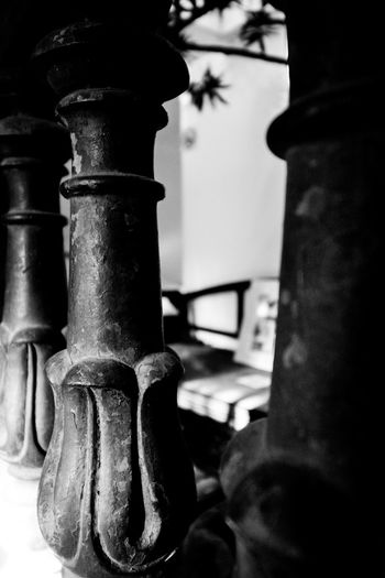 It's all in the details - Geoffrey Bawa House Architectural Detail Black And White Close-up Colombo Sri Lanka Day Detailing Deterioration Focus On Foreground Geoffrey Bawa Metallic No People Old Paint Flaking Pipe - Tube Railing Selective Focus Textures Textures And Surfaces Shadows And Light