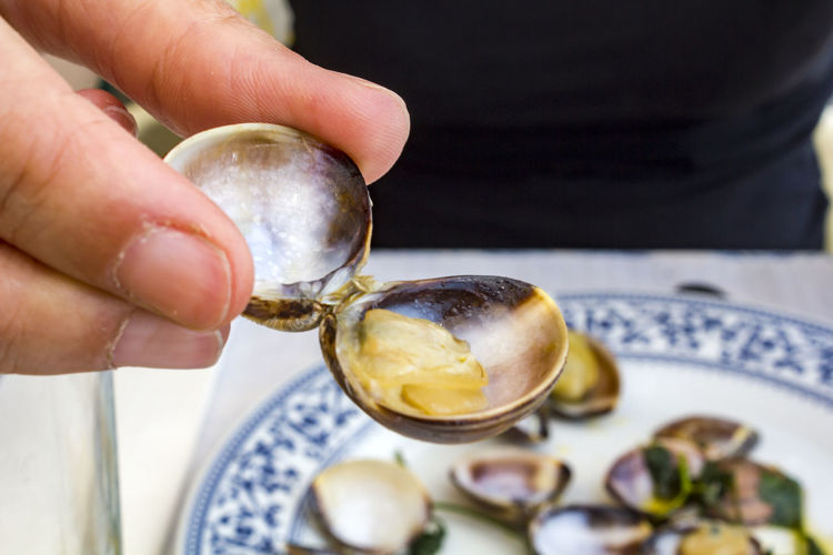 Close-up of woman hands eating clams