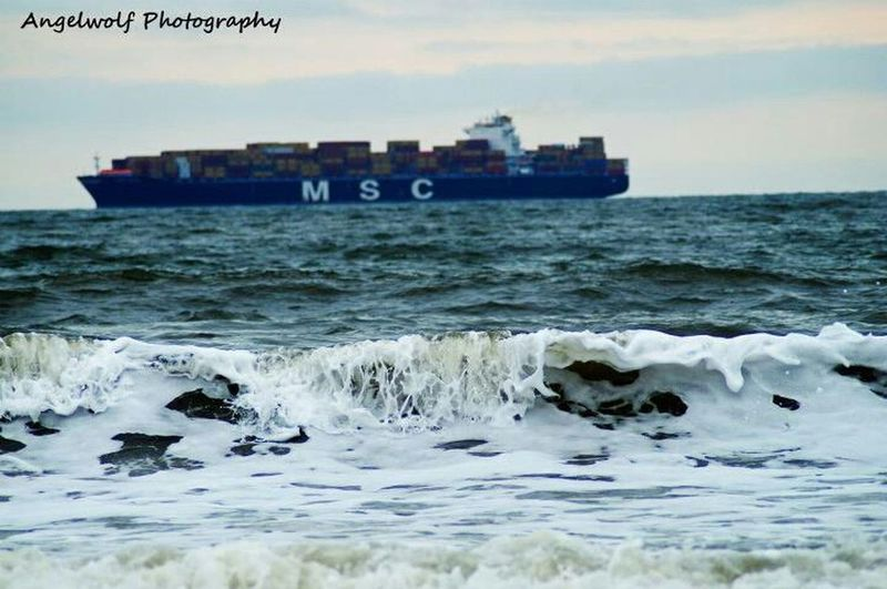 Beach Ship Boat Ocean Waves Container Boat With Waves