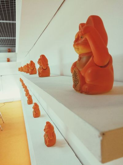 Cat Lucky Figure Miniatures Collection Hobby Orange Color Department Store Design Decoration Art Bangkok Thailand