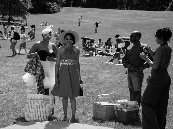 Black And White Friday Girls picnic in Prospect Park, Brooklyn Outdoors Real People Women EyeEm Gallery Stripes Pattern Blackandwhite Photography Diane Allford Photography OpenEdit