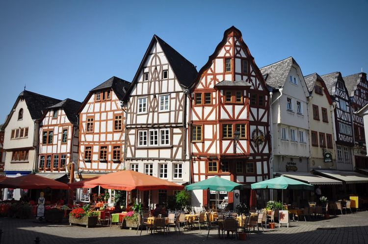 Generic Architecture Half-timbered Houses Fachwerkhäuser Germany Town Building Exterior Architecture Sidewalk Cafe Restaurant Cafe Table Outdoors Outdoor Cafe Built Structure Real People People City