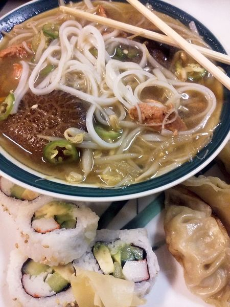 Food Soup Bowl Noodle Japanese Food Salmon Pho MFresh Soup Homemade Food Home Cook Meal Mushrooms Cooked Close-up Ready-to-eat Indulgence Asian Food
