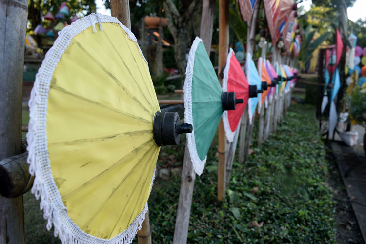 Archery Beautifully Organized Close-up Day Multi Colored No People Outdoors Thailand Umbrella Village Umbrellas EyeEm Diversity