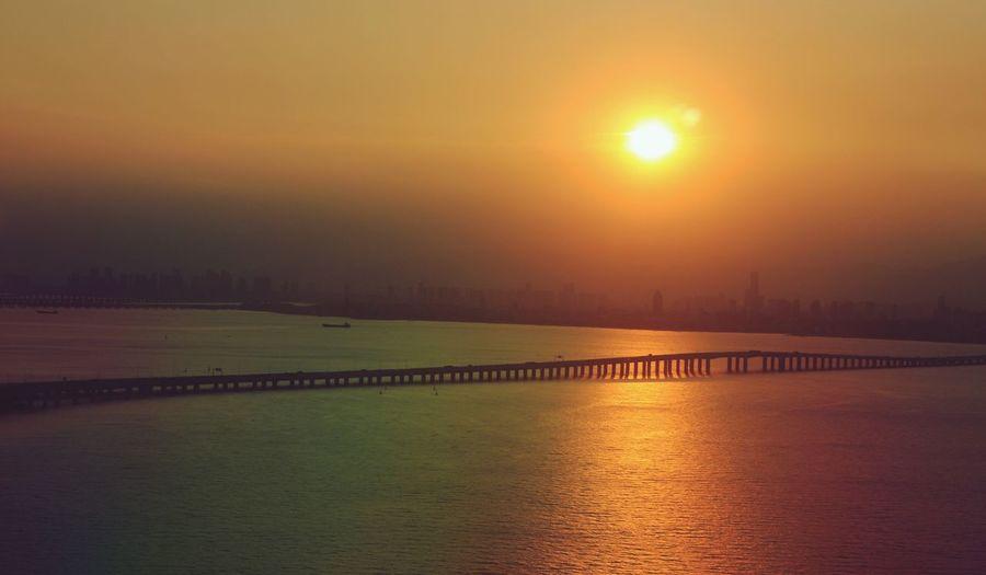 open across bridge Sunset Water Sky Orange Color Nature Sea 18mm Sun Finding New Frontiers