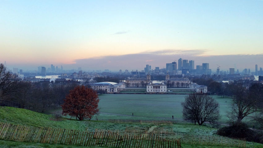 Overlooking London Old and New Historic Modern City from Greenwich Park Greenwich Park Morning Morning Sky Sunrise Sky Trees Landmarks Cityscape Skyline