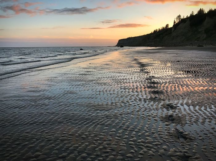 Sea Water Sunset Scenics Nature Beauty In Nature Tranquility Tranquil Scene Sky Beach Sand Outdoors No People Rippled Horizon Over Water Cloud - Sky Day Alaska