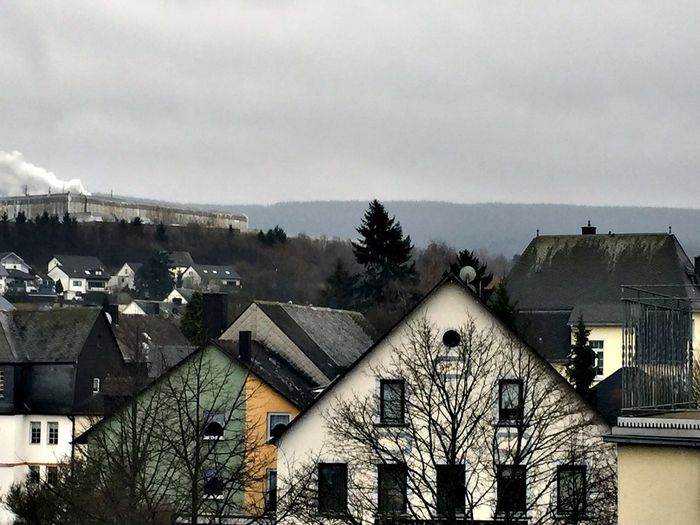 Rainy day in Morbach, Germany. View outside my window at the St. Michael Hotel.