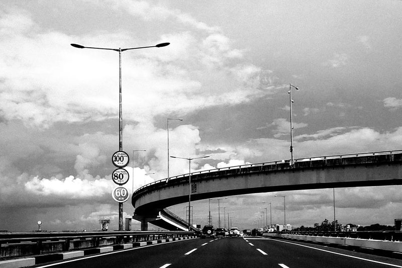 Low angle view of highway against sky
