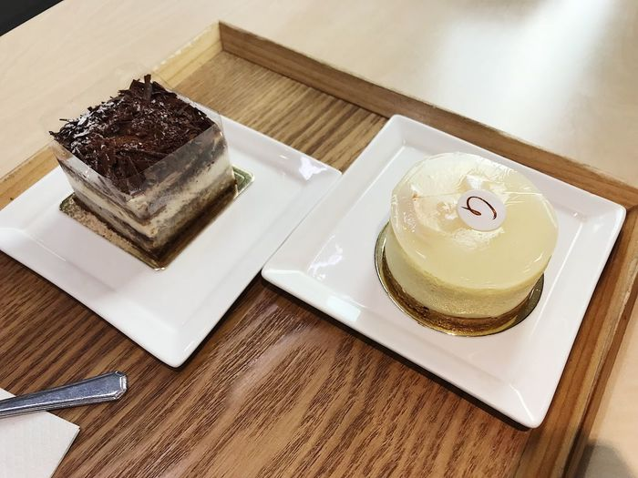 High angle view of cake served on table