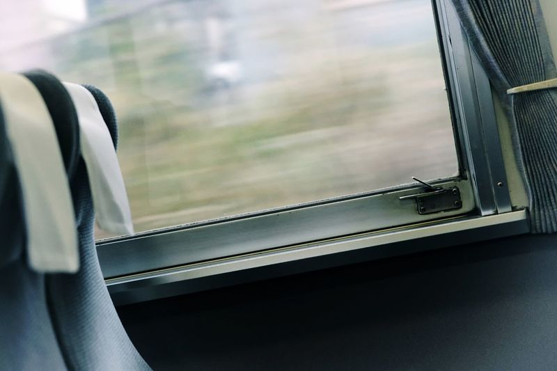 Window Glass - Material Mode Of Transportation Indoors  No People Vehicle Interior Transportation Land Vehicle Seat Train - Vehicle Focus On Foreground Train Travel Metal
