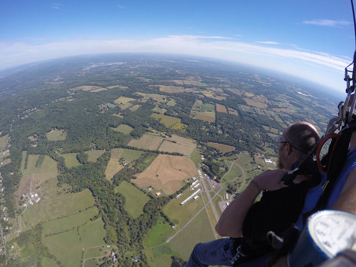 Man Skydiving in New Jersey Adventure Aerial View Agriculture Air Vehicle Airplane Beauty In Nature Cityscape Extreme Sports Flying Landscape Mode Of Transport Nature One Person Outdoors Patchwork Landscape Real People Scenics Sky Skydiving Sport Transportation Travel